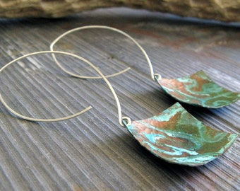 Rustic copper verdigris patina earrings. Long brushed sterling silver handmade hooks. Aged jewelry. Organic squares Lightweight Artifacts.