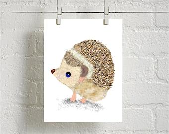 Hedgehog Digital downloadable Print, Woodland Animal Print, Nursery Print, kids room decor, Printable Nursery, baby shower gift, baby decor