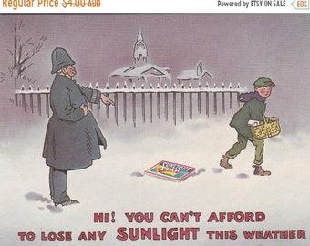 ON SALE Reproduction Postcard for SunLight Soap - Vintage eighties paper ephemera 1980s