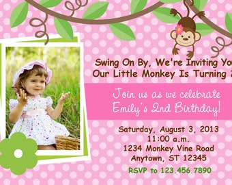 MONKEY PINK POLKA Dot Birthday Invitation With Photo /Girls First 1st 2nd 3rd Birthday Invitation/Printable Digital File / Matching Items