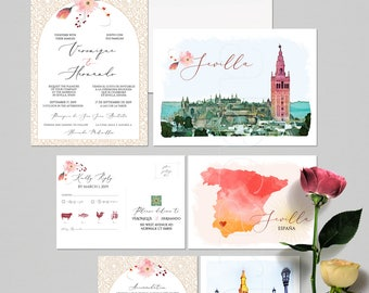 Sevilla Spain Destination Wedding Invitation Set Andalusian Spanish Mediterranean Illustrated watercolor wedding invitation Deposit Payment