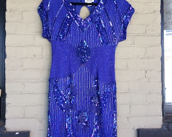 80's Beaded and Sequin Party Dress