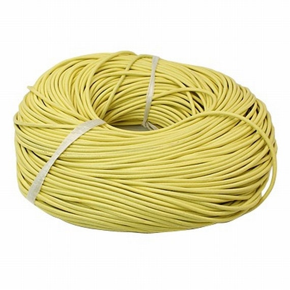 Pale Yellow Genuine Leather Cord 3mm From