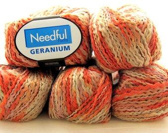 Geranium by Needful Yarn - Linen/Acrylic Thick Thin Novelty Yarn - Melon/Pink/Off-White