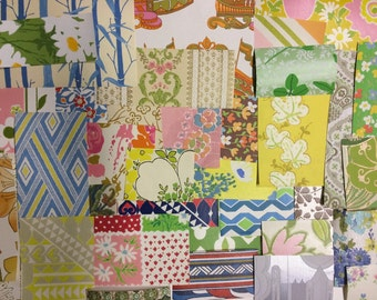 1960s and 1970s Vintage Wallpaper Big scrap pack/ grab bag-at least 25 patterns! Collage/ scrapbooking