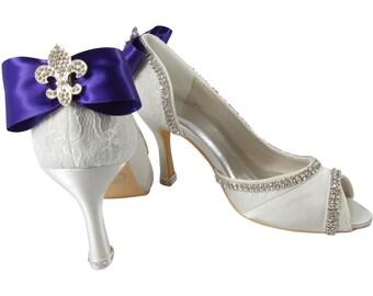 Wedding Shoes: Fleur de Lis Bling custom, Purple Bows- Ivory Bridal Heels- choose colors, size, height & bling. Peep Toe