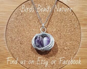 Amethyst Bird Nest Necklace Pendant