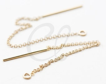 2pcs (1 Pair) 14K Gold Filled Earring Thread with Round Link Chain - Earring Line - Threader Ear Wire 3 Inch*
