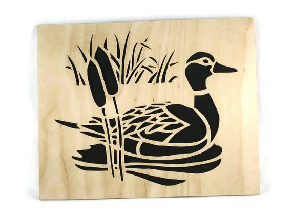 Duck Scene Nature Wall Hanging Wood Art Handmade From Birch Wood
