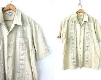 70s Retro Embroidered Boyfriend Shirt Vintage Mexican wedding shirt Guayabera Off White Khaki button up Tee Summer Beach Bum Mens Size 2X
