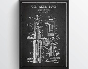 1912 Oil Well Pump Patent Wall Art Poster, Oil Drilling Poster, Texas Art, Home Decor, Gift Idea, PFEN15P