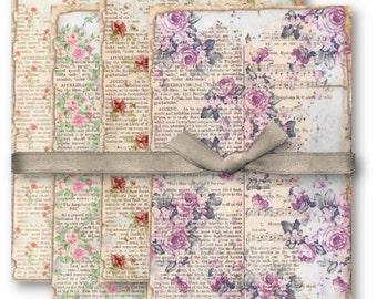 Vintage Floral Book Pages - Digital Collage Sheet Download -1165- Digital Paper - Instant Download Printables
