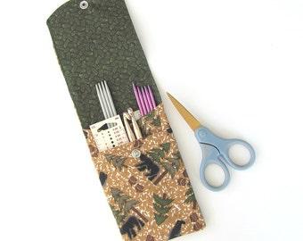 Needle Case, DPN or Crochet Hooks Case, Knitting Needles Organizer, Pencil case, Artist Supplies Storage Case - Black Bears