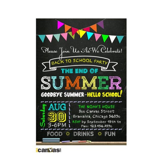 Back to school party invitation end of summer chalkboard stopboris Choice Image