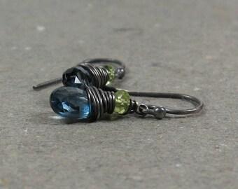 London Blue Topaz Earrings Peridot December, August Birthstone Oxidized Sterling Silver Gift for Her