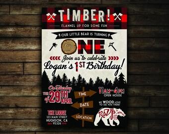 Lumberjack Birthday Invitation | Printable Flannel First Birthday