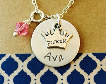 Princess Necklace, Princess Crown Necklace, Little Girl Necklace, Girls Name Necklace, Young Girls Jewelry, Kids Jewelry