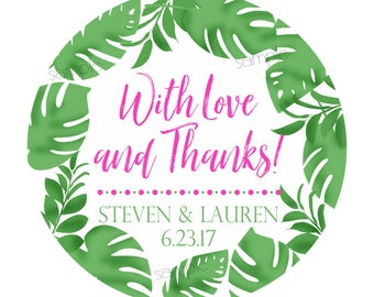 Palm Leaf Stickers, Tropical Leaf Labels, Personalized Wedding Stickers, Wedding favor labels, Botanical Wedding, Tropical Wedding favors