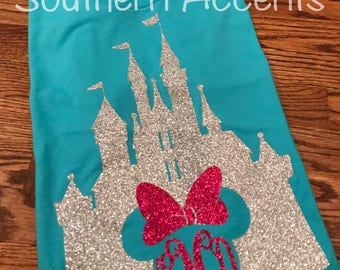 Comfort color youth monogram disney tinker bell castle minnie mouse monogrammed  shirt disney family vacation tshirt