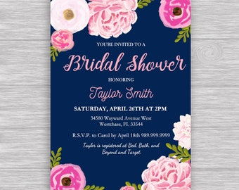 """Navy Floral Pink bridal invitation Digital File: """"NAVY INVITATION"""" with blue, pink, rose, flower, watercolor accents for baby/bridal shower"""