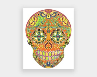 Day of the Dead Sugar Skull Printable - for Iron On, Decoupage, Craft Supply - Instant Download JPG File by bones nelson