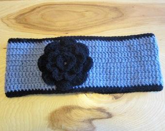 Black and Grey Flower Crochet Headband, Ear Warmer, Winter Wear, Women & Teens! Only One Available!