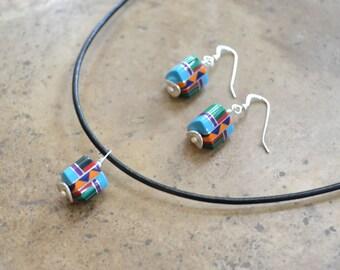 Multi Inlay beaded Tri tube Earrings & Necklace SET (Zuni Fetish style)