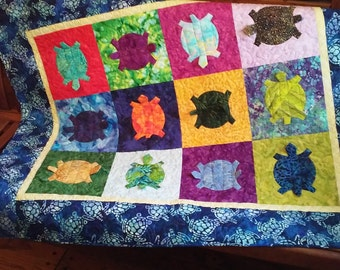 Toddler Patchwork Quilt  Handmade Quiltsy Turtle Dance 5