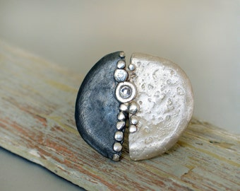 Textured Silver Statement Ring in Organic form with swarovski crystal