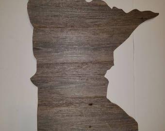Minnesota State Cutout, Rustic Home Decor, Reclaimed Wood Minnesota Sign, State Shaped Wood Sign, Barnwood Signs, Rustic Wood State Cutout