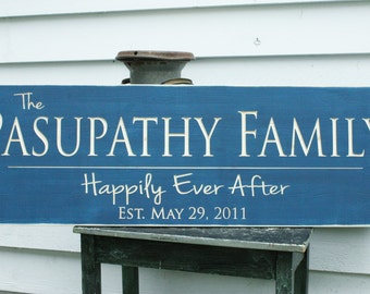 Large Last Name Sign with Quote or Motto and Date Personalized Family Wood Sign - 16x48 Wedding Anniversary Carved Handpainted Wooden Sign