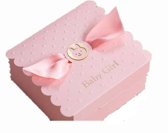 Pink Baby Girl Baby Shower Birthday Party Favor Box Gift Box