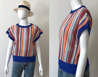 Vintage top / striped top / 70s sleeveless top / striped tunic / sleeveless tunic / striped sweater / 70s top / summer top / 70s blue top