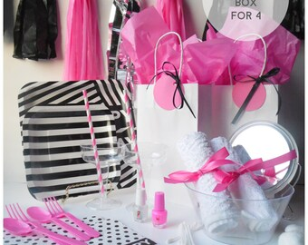 DIY Pink, Black, and White Spa Party in a Box for 4.