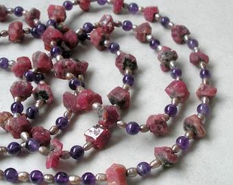 Garnet Crystal Rope Necklace Amethyst Pearls Birthstone Jewelry Metaphysical Healing Stones