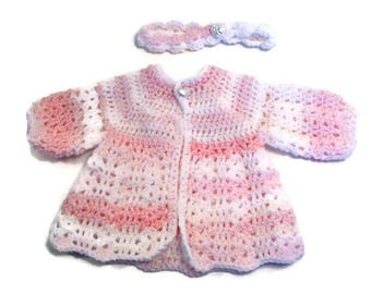 3-6 month Baby Girl Pink and White Crocheted Sweater with Headband,  Christening, Baptism Sweater