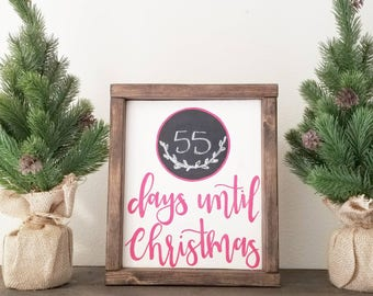 Days Until Christmas Sign/ Holiday Sign/ Rustic Sign/Farmhouse Sign/ Calligraphy Sign/ Chalkboard Sign/ Christmas Sign/ Customizable Sign