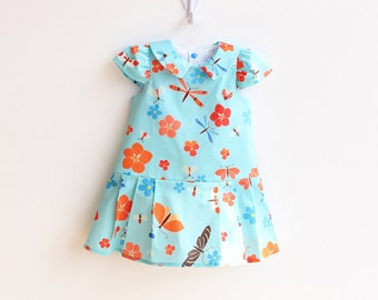 BLOOMS Girl Baby Girl Dress sewing pattern Pdf, Easy Capped Sleeve woven Girl Collared Dress, newborn up to 10 years