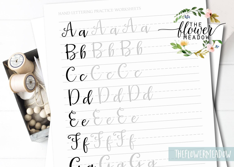 Free Printable Brush Pen Hand Lettering Practice Sheets | Decor ...