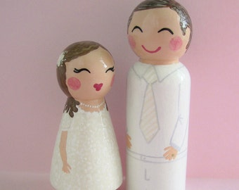 Hand Painted Love Boxes Custom Father Daughter Baptism Day Peg Doll Portrait Wood