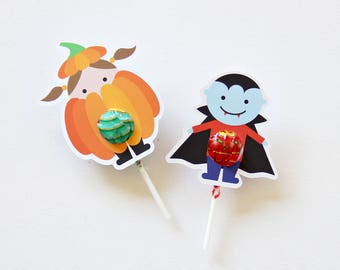 12 Halloween Lollipop holders. 6 Designs. Chuppa Chup cards. Trick or Treat Gift.