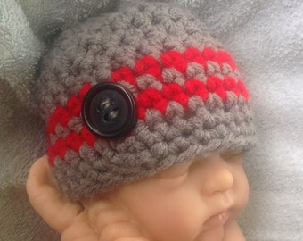 Crochet Newborn Beanie Wood Button Baby Shower Gift Photo Prop