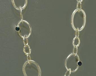 Sterling Silver Heavy Link Chain Necklace with Gemstones, Mother's Birthstone Necklace, Long Handmade Silver Chain with Blue Stones