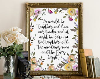 We Would Be Together and Have Our Books printable wall art , Ernest Hemingway Printable wall art, Hemingway Literary Quote , book Print Art