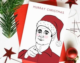 Funny Bill Murray Christmas Card 'Murray Christmas' Funny Pun Christmas Card.