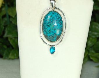 Chrysocolla Pendant, Sterling Silver, Blue Topaz Accent, Blue 2 Stone Pendant, Natural Chrysocolla