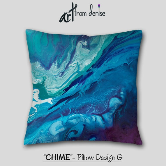 Teal Navy Blue Plum Abstract Throw Pillow Aqua Purple