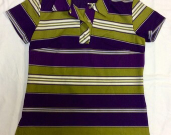 Vintage 60s stripe polyester top Mod / Go Go / Austin Powers
