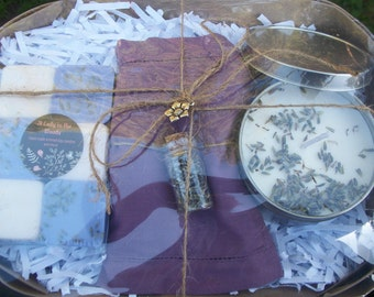Lavender Gift set-Bridesmaids gift set-Candle gift set-Gifts for her-Bridal shower gifts-Lavender gifts-wedding gifts-candle gift set-sachet