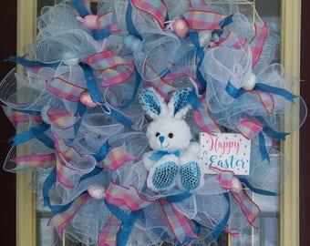 Blue Bunny Easter Wreath Spring Wreath Deco Mesh Door Wreath